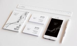 直尺手机与名片记事本样机模板素材