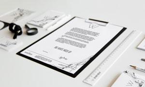 文件纸张与直尺等贴图分层模板素材