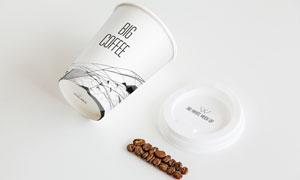 咖啡豆与杯身杯底图案应用效果模板