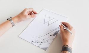 绘图本上的手绘作品样机分层源文件