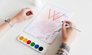 纸张上的绘画作品展示贴图模板素材