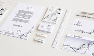 记事本与直尺纸张等VI元素分层模板