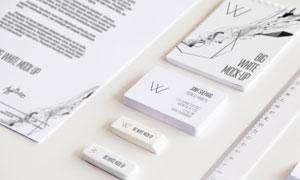 信纸记事本与名片直尺等样机源文件
