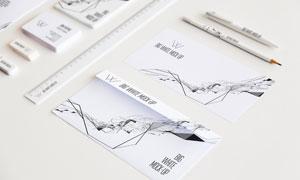 信封名片与直尺等元素样机模板素材