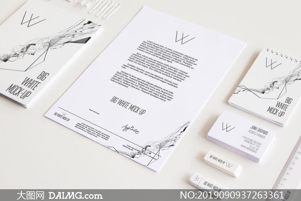 信纸记事本与名片等元素贴图源文件
