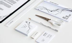 铅笔直尺与剪刀名片等贴图模板素材