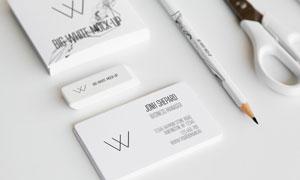 名片铅笔与剪刀等元素样机分层模板