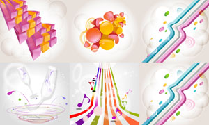 线条与立体几何元素等创意矢量素材
