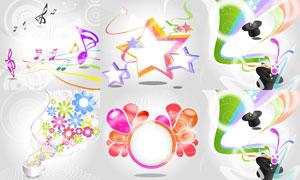 线条花朵与五角星元素背景矢量素材