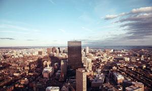 海边城市高楼大厦美景摄影图片