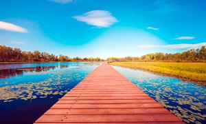 蓝天下湖泊上的木桥高清摄影图片