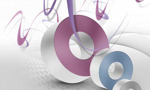 波点曲线与立体圆环等PSD分层素材