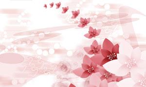 圆点与红色的花朵创意设计分层素材