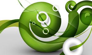 绿色线条与立体圆环等创意分层素材