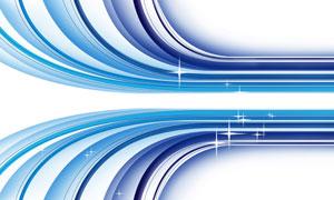 以星光点缀的蓝色曲线创意分层素材
