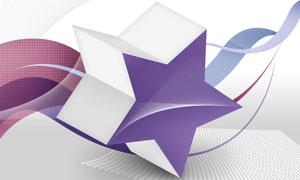 曲线元素与五角星创意设计分层素材