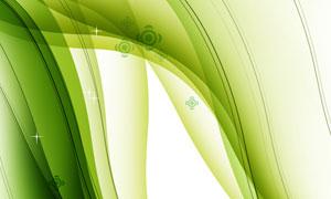 星光元素绿色曲线创意设计分层素材