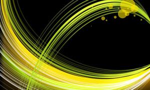 圆点与黄绿色曲线创意设计分层素材