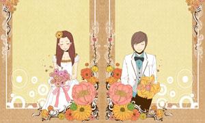花纹花朵装饰边框情侣插画分层素材