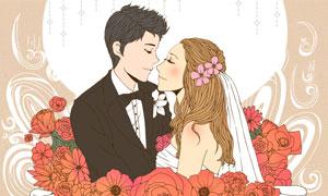 依偎在一起的情侣插画创意分层素材