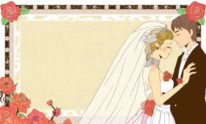玫瑰花朵与婚庆人物等插画分层素材