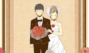 花纹玫瑰花与婚庆人物插画分层素材