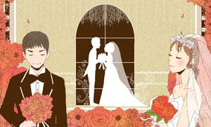拿着玫瑰花的新娘新郎插画分层素材
