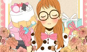 蛋糕礼物花朵与美女等插画分层素材