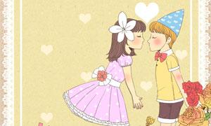 蕾丝花边与情侣人物等插画分层素材