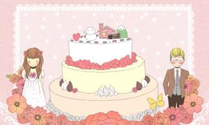 情侣人物与蛋糕等插画创意分层素材