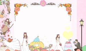 花朵边框与新娘新郎等插画分层素材