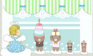 棒棒糖玩具熊与女孩等插画分层素材