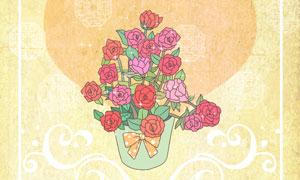 桃心玫瑰与花纹边框等创意分层素材