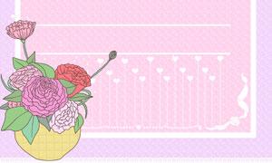 花朵与蕾丝花边装饰的背景分层素材