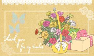 蝴蝶结蕾丝与花朵装饰背景分层素材