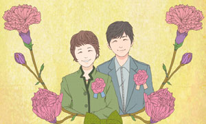 蝴蝶结花朵与人物插画创意分层素材