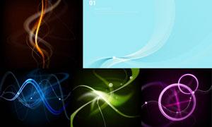光效元素与波形的曲线背景矢量素材