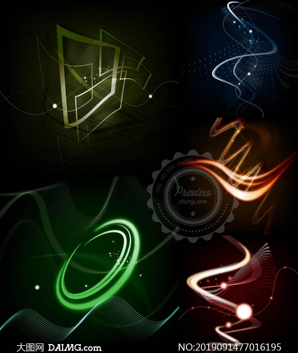黑底光效元素曲线抽象背景矢量素材