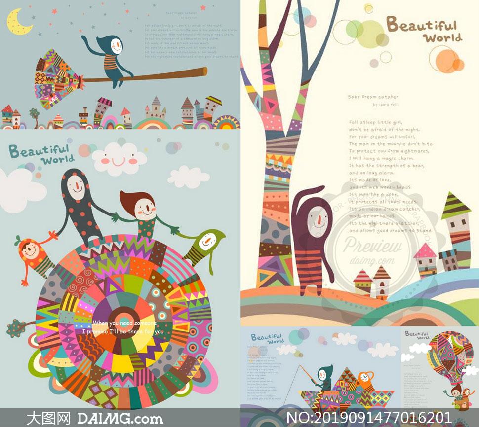 纸船热气球等插画创意设计矢量素材