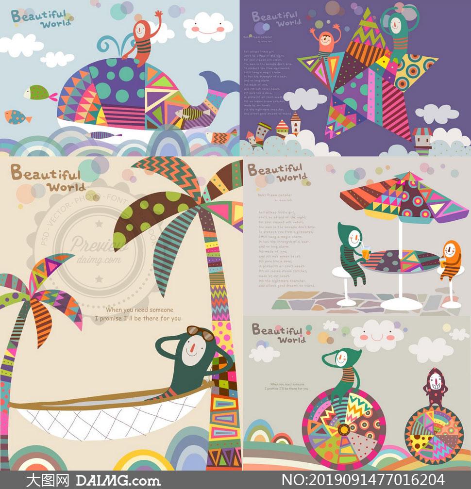 椰树鲸鱼与遮阳伞插画设计矢量素材