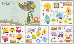 多种机器人卡通创意设计矢量素材V1