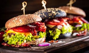 让人垂涎的牛肉汉堡包摄影高清图片