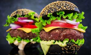 美味蔬菜牛肉漢堡特寫攝影高清圖片