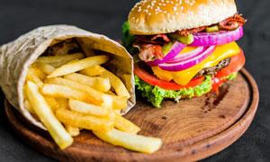 美味薯条与汉堡包特写摄影高清图片