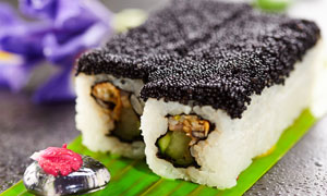美味诱人寿司近景特写摄影高清图片