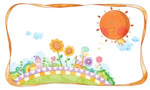 太阳与花朵房子等创意插画分层素材