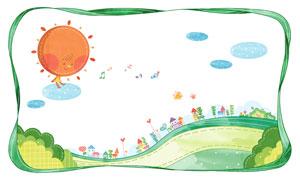 音符花朵与房子等卡通创意分层素材