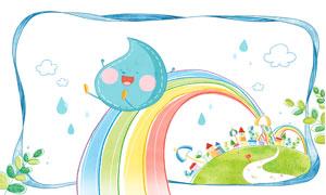小路彩虹与卡通的水滴创意分层素材