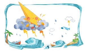 乌云与闪电等手绘创意卡通分层素材