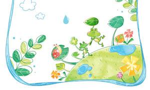 蜗牛青蛙与水滴等卡通元素分层素材